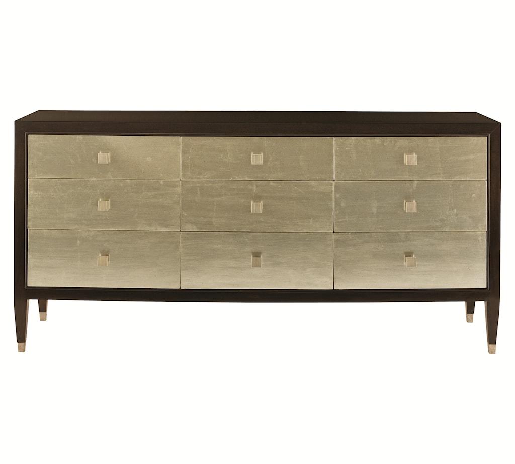 Bernhardt interiors aurelia nine drawer dresser with silver leaf drawer fronts