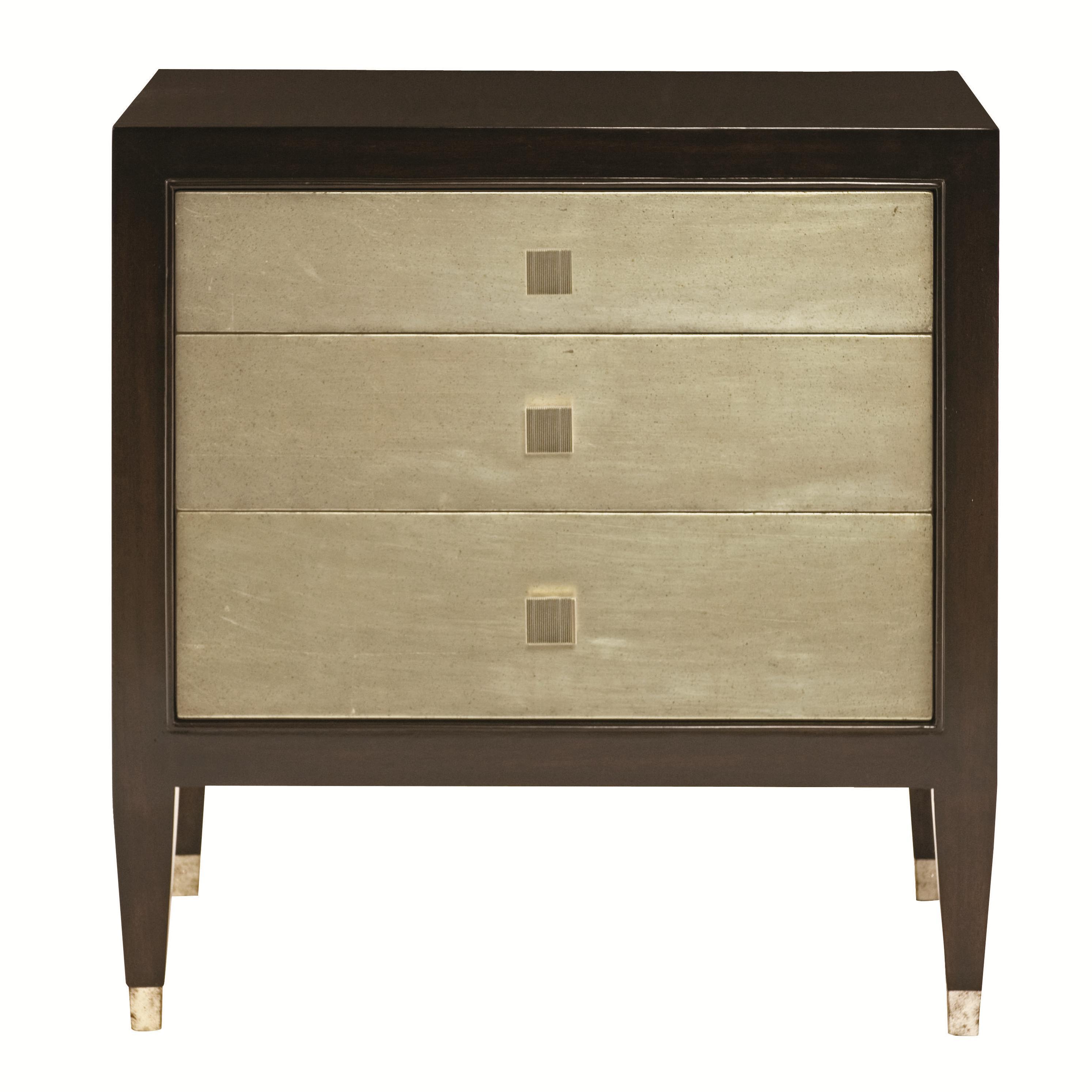 bernhardt interiors aurelia 3 drawer nightstand with metal ferrules