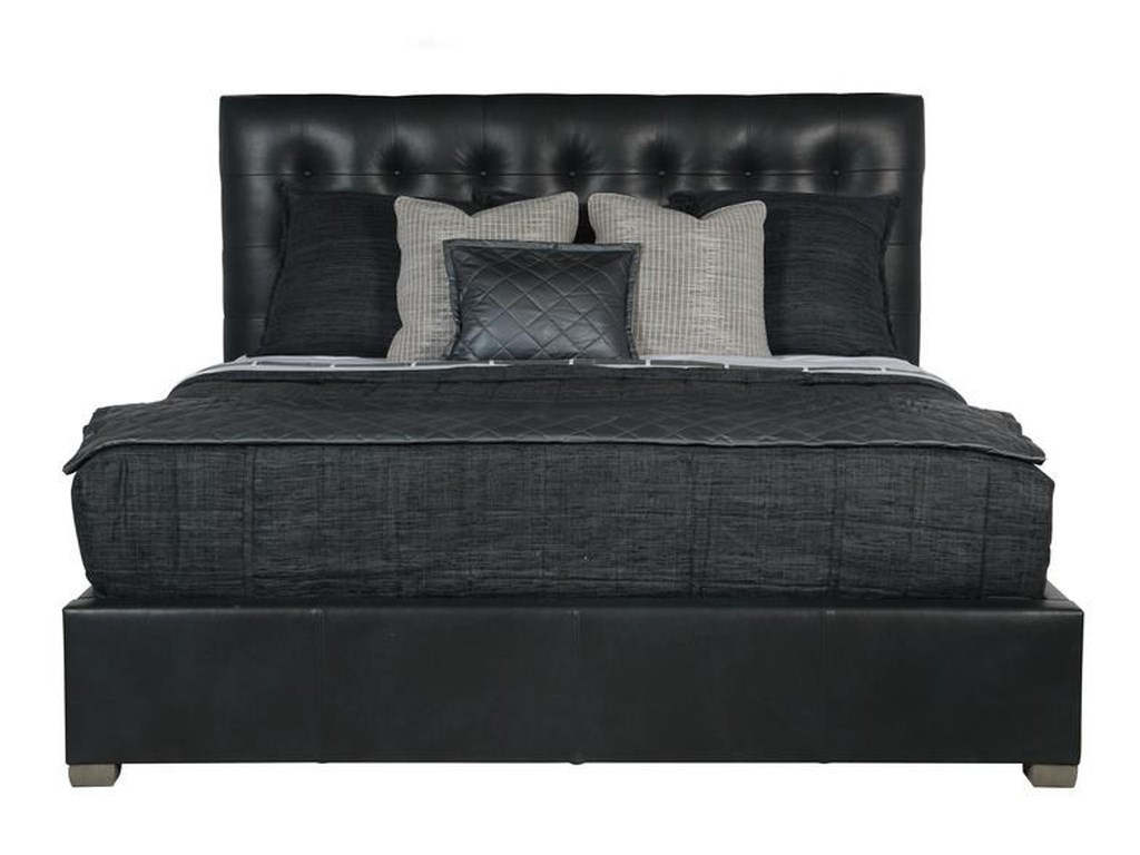 Bernhardt Interiors - AveryQueen Leather Button-Tufted Bed