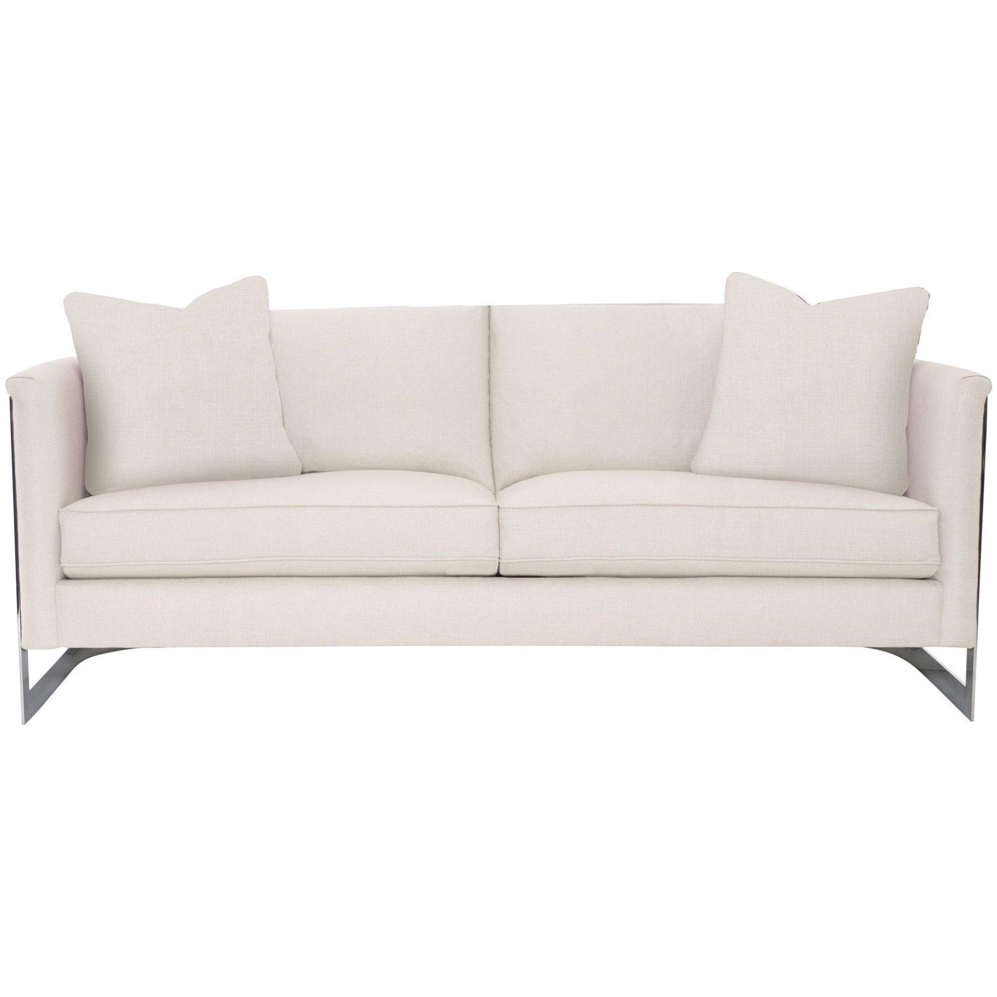 Bernhardt Interiors   Baldwin Contemporary Sofa With Curved Polished  Stainless Steel Frame