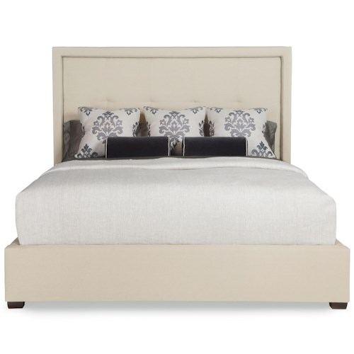 Bernhardt Interiors - Beds Queen Drake Upholstered Bed with Block Feet