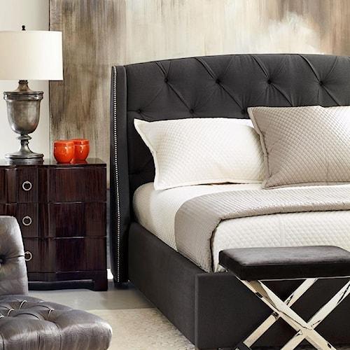 Bernhardt Interiors - Beds Queen-Size Jordan Button Tufted Wing Headboard