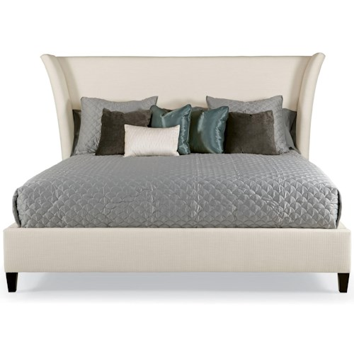 Bernhardt Interiors - Beds Queen Sienna Flare Upholstered Bed with Tapered Feet
