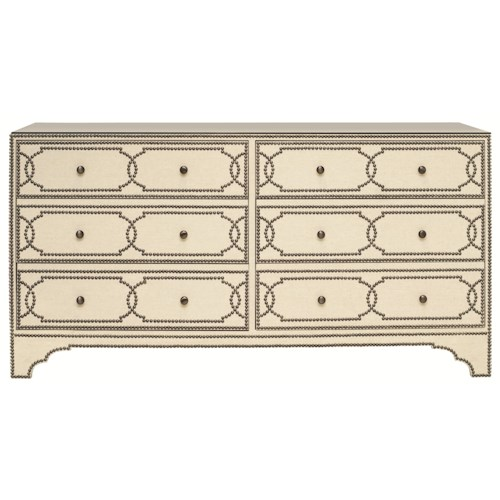 Bernhardt Interiors - Cabrillo 6 Drawer Shabby-Chic Nailhead Dresser