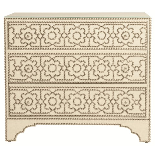 Bernhardt Interiors - Cabrillo Upholstered Nailhead Chest with Shabby-Chic Style