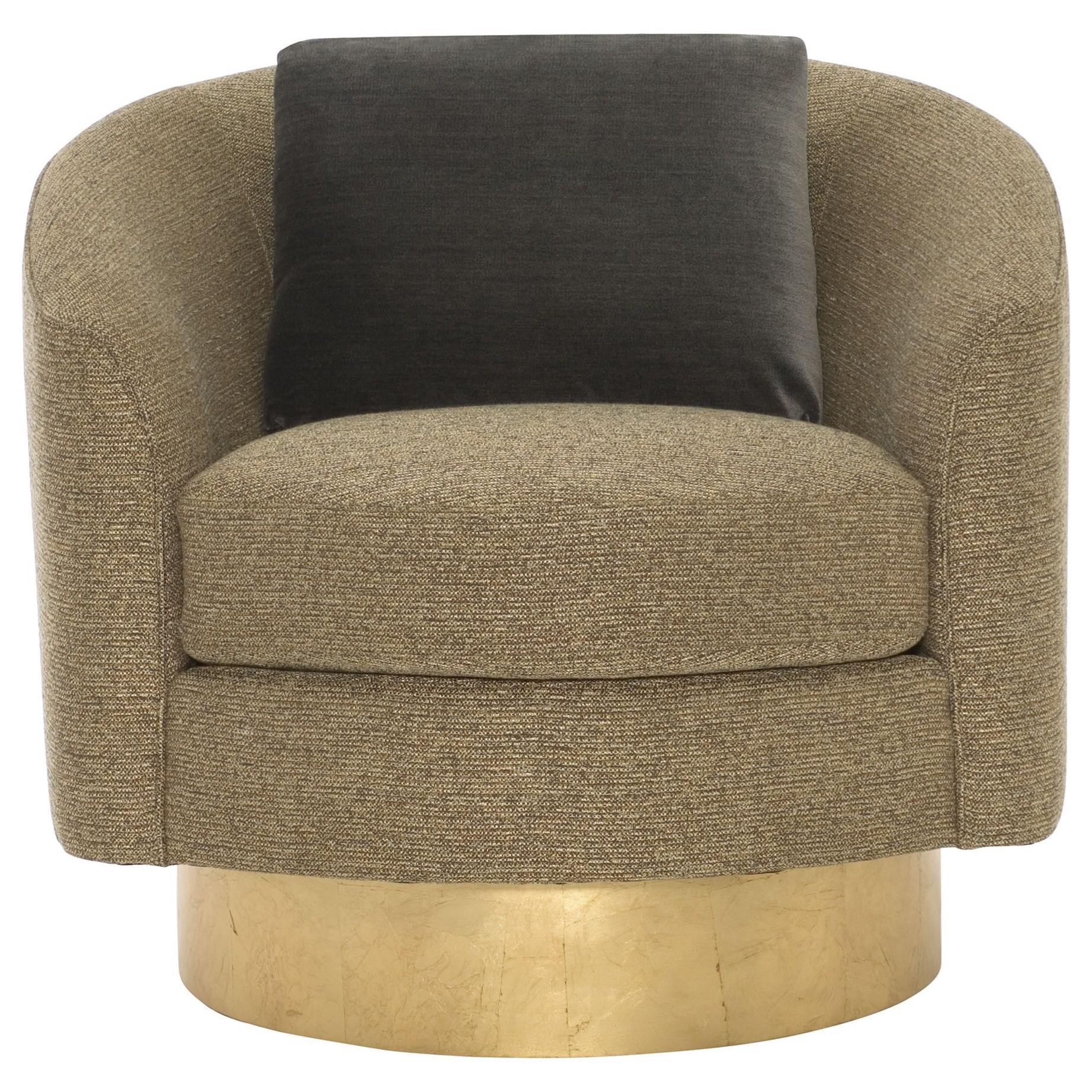 Delicieux Interiors   Camino Barrel Back Swivel Chair With Gold Leaf Finish Base By  Bernhardt