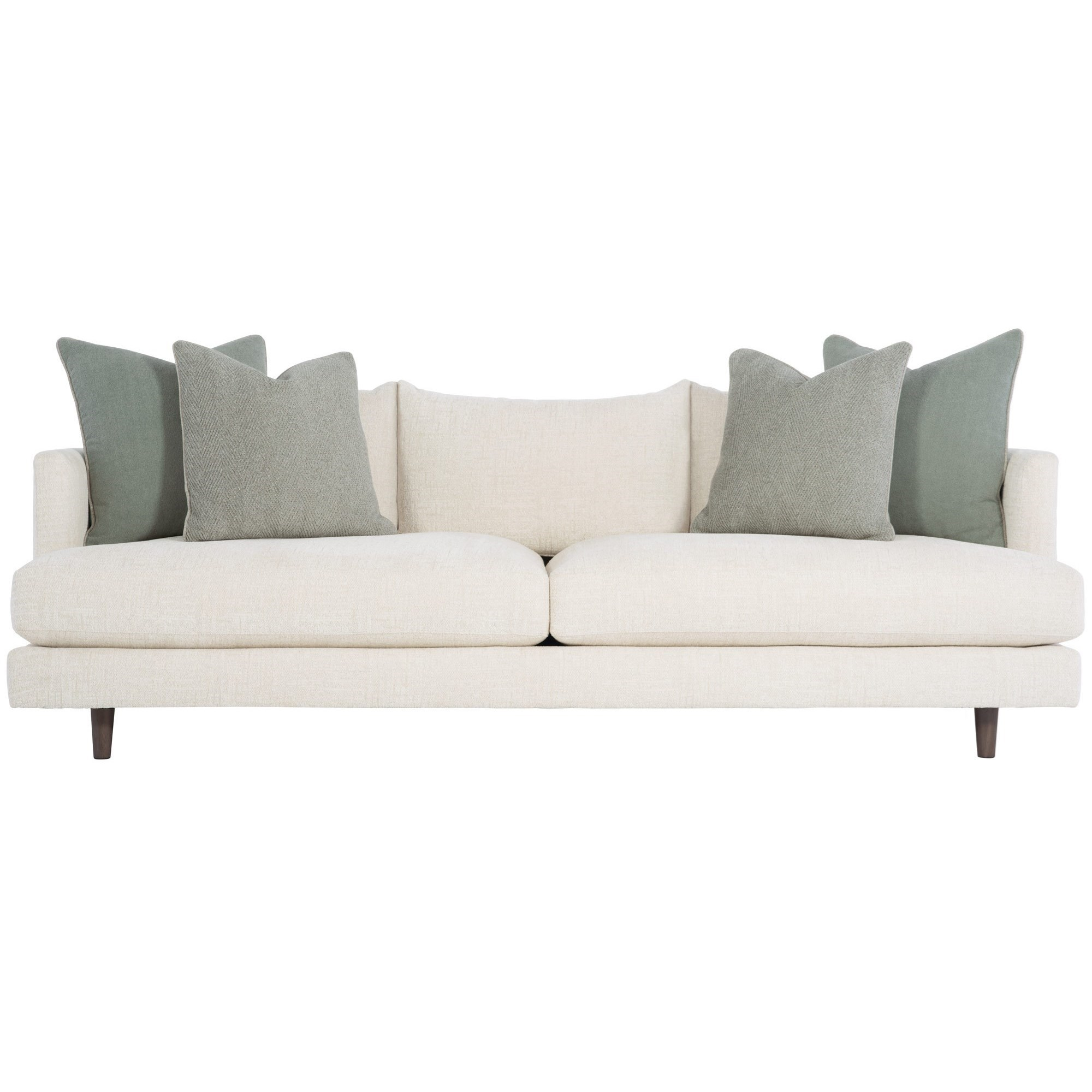 Picture of: Bernhardt Colette Mid Century Modern Sofa With Down Seat Cushions And Throw Pillows Wayside Furniture Sofas