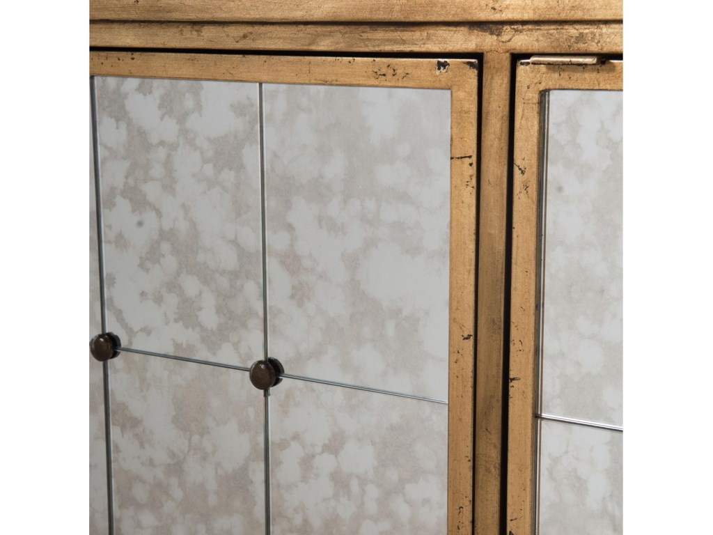 Doors Feature Antiqued Mirror Panels with Rosettes