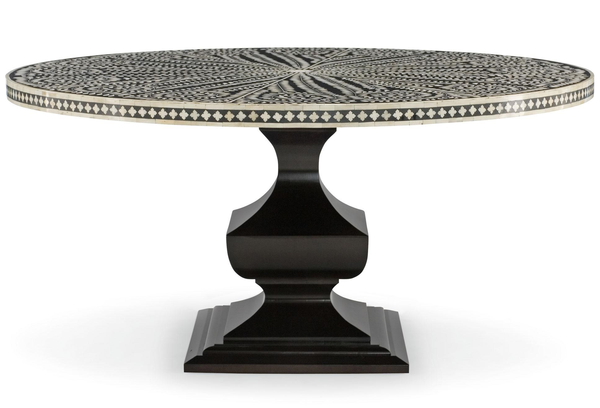 Bernhardt Interiors   Dining Barnsley Round Dining Table With Patterned  Bone Inlay Top