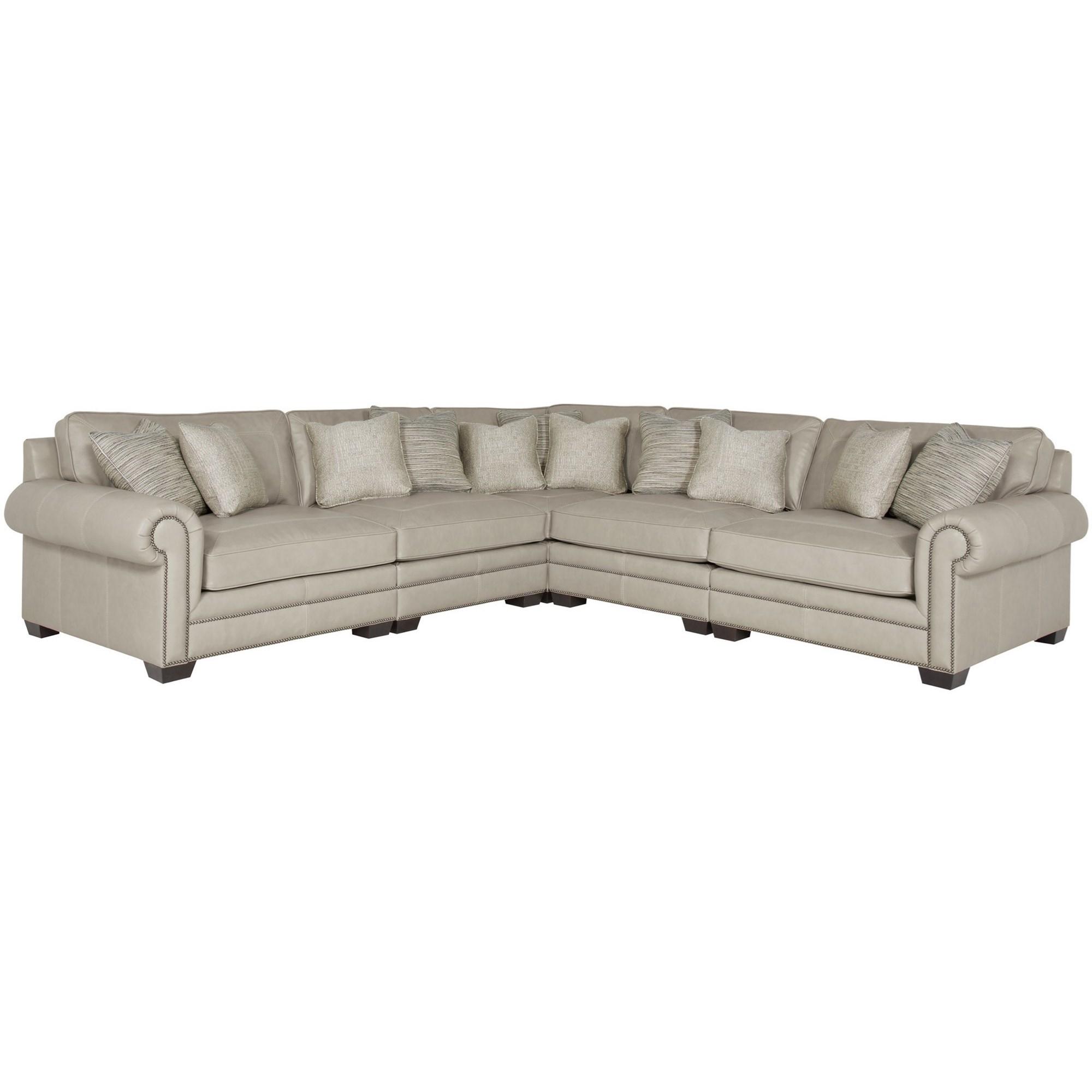 Bernhardt Grandview   Interiors Transitional Sectional Sofa With Nailhead  Trim