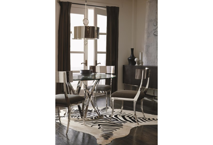 Bernhardt Interiors Gustav Round Glass Top Dining Table With Polished Metal Base Belfort Furniture Kitchen Tables