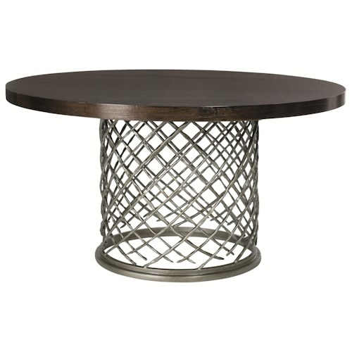 Bernhardt Hallam Modern Metal Dining Table with Wood Top (54