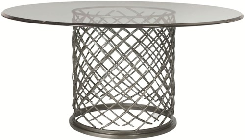 Bernhardt Hallam Modern Metal Dining Table with Glass Top (60