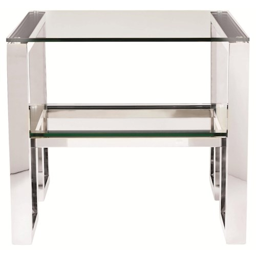 Bernhardt Interiors - Imperial Modern Metal Side Table with Glass Top and Shelf