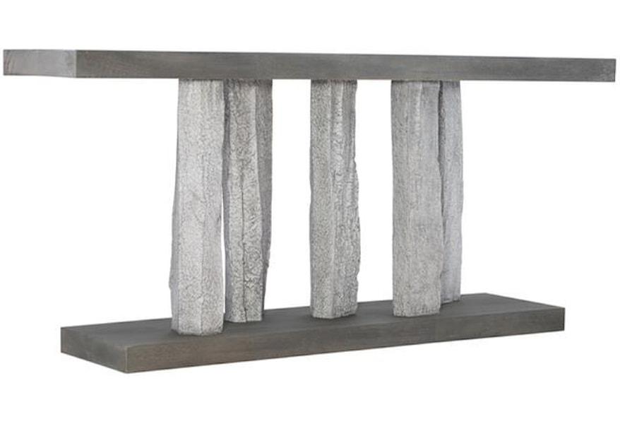 Bernhardt Interiors Merced Contemporary Faux Stone Column Console Table Belfort Furniture Sofa Tables Consoles