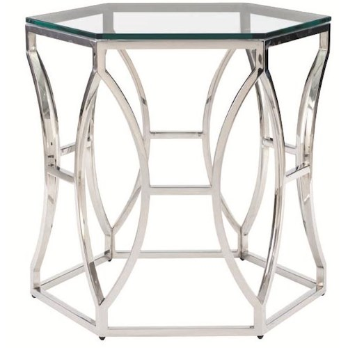 Bernhardt Interiors - Accents Argent Metal Side Table with Polished Stainless Steel Base