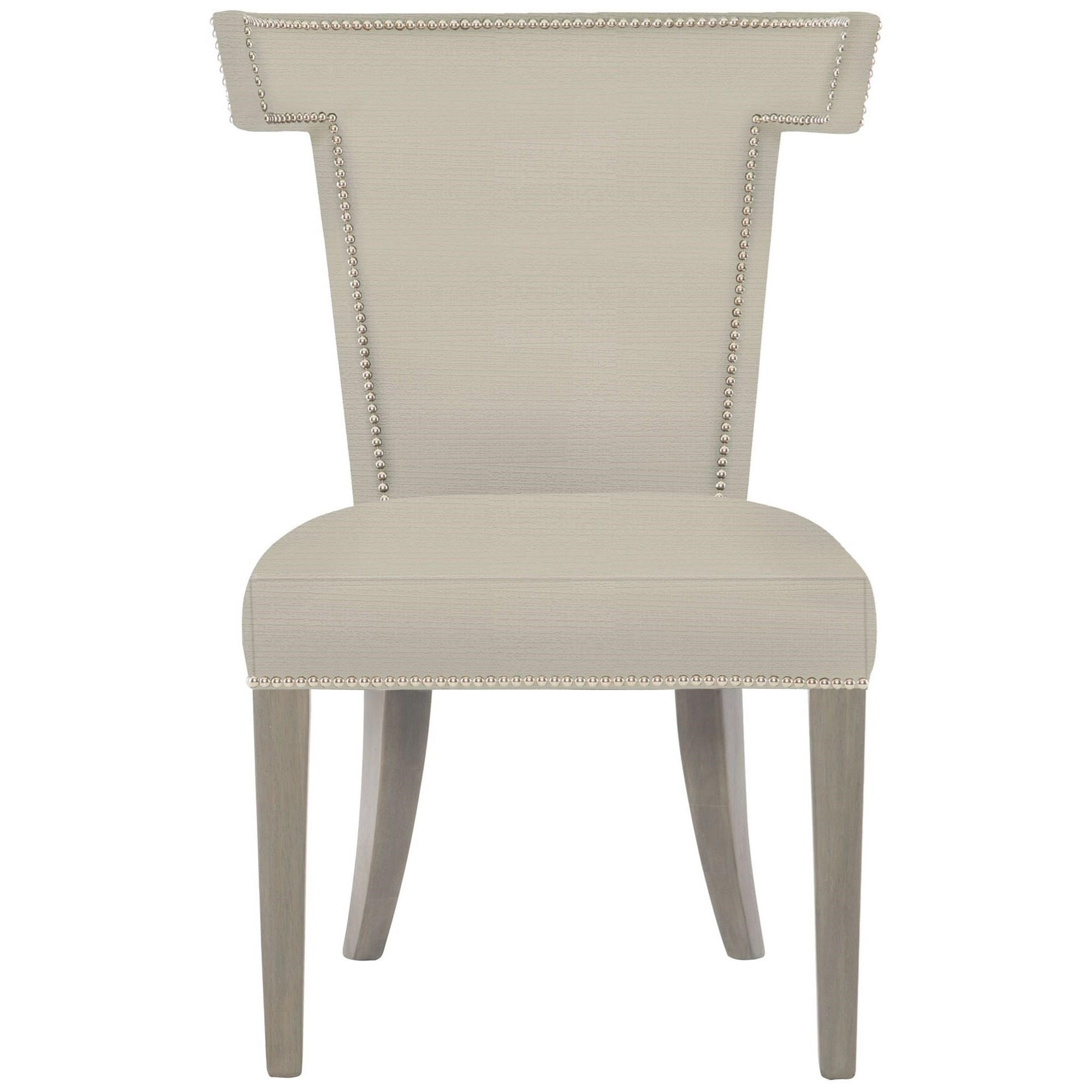 Transitional Dining Side Chair with Nailheads and Greige Wood Finish