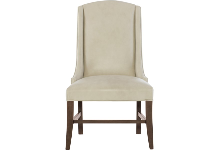 Bernhardt Interiors Slope Transitional Leather Arm Chair Belfort Furniture Dining Side Chairs