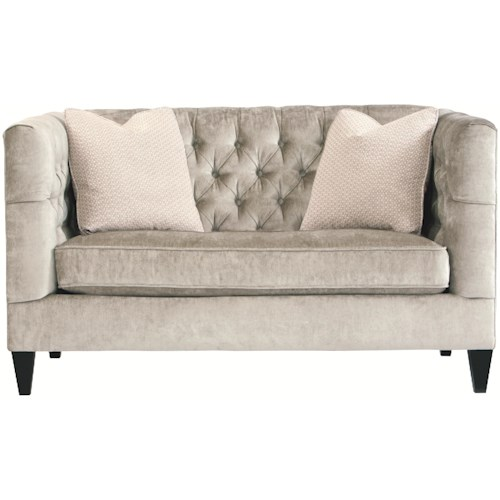 Bernhardt Interiors Sofas Modern Transitional Styled Beckett Loveseat With On Tufted Back