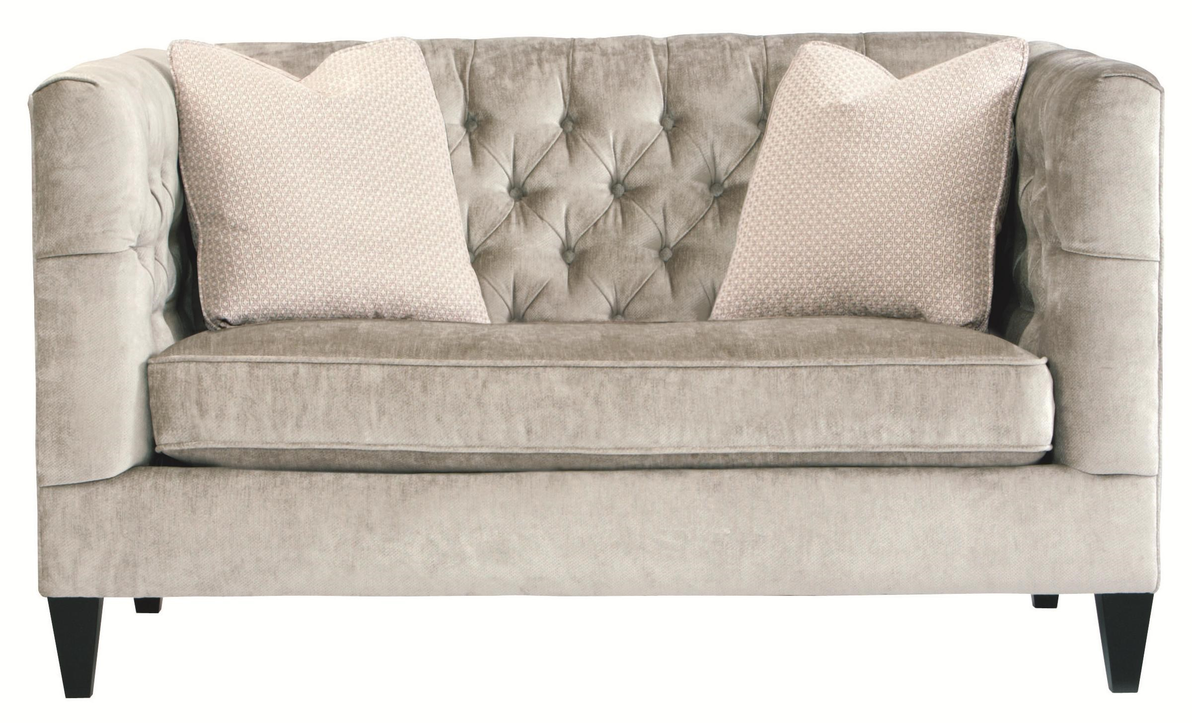 Bernhardt Interiors   Sofas Modern Transitional Styled Beckett Loveseat  With Button Tufted Back