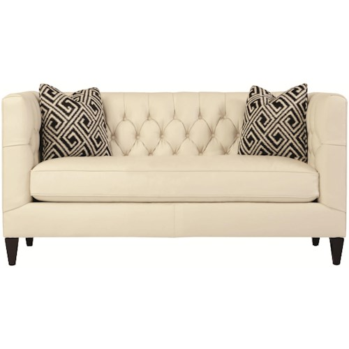 Bernhardt Interiors Sofas Contemporary Leather Beckett Loveseat With On Tufted Back