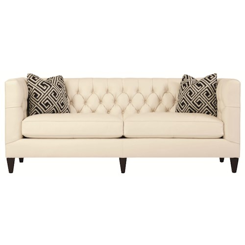 Bernhardt Interiors - Sofas Transitional Styled Beckett Leather Sofa in Tuxedo Sofa Style