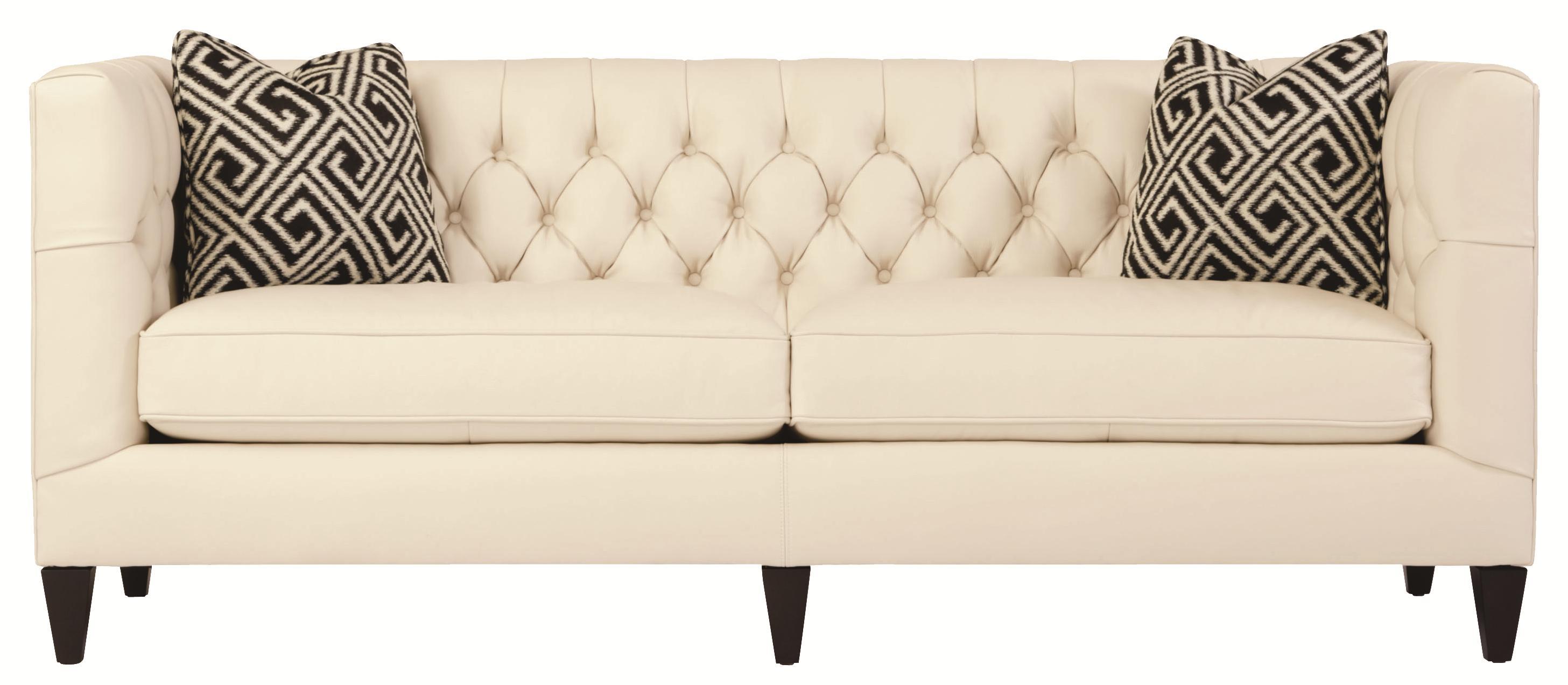 Bernhardt Interiors   Sofas Transitional Styled Beckett Leather Sofa In Tuxedo  Sofa Style