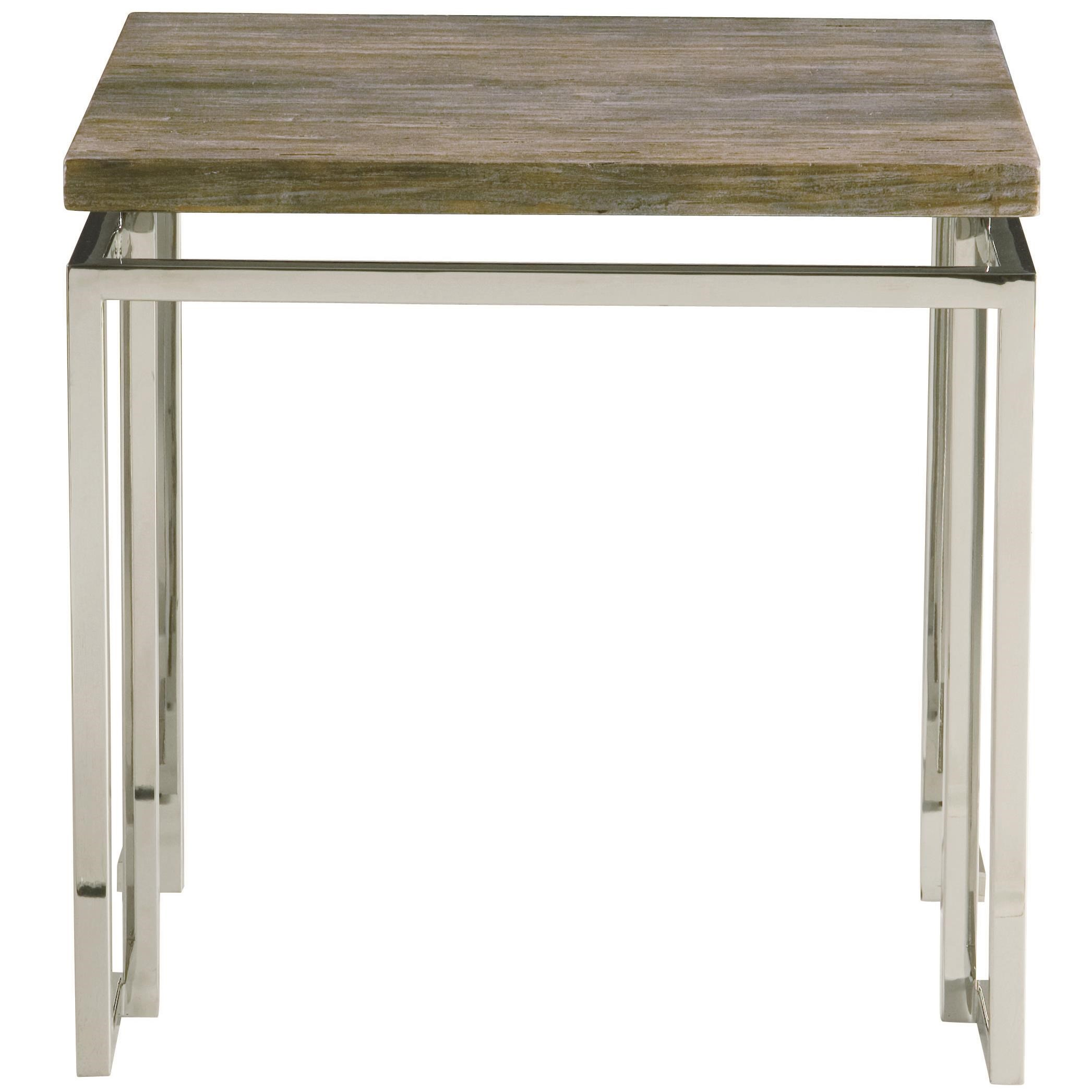 Bernhardt Interiors   Waverly Side Table With Stainless Steel Base