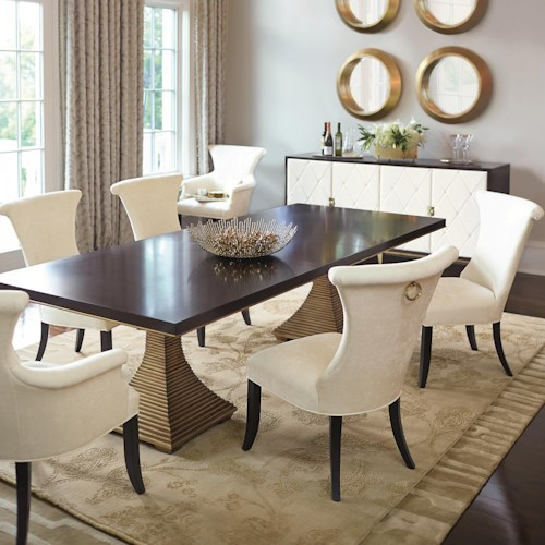 Bernhardt Jet Set Dining With Double Pedestal Table