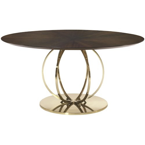 Bernhardt Jet Set Round Dining Table with Metal Base