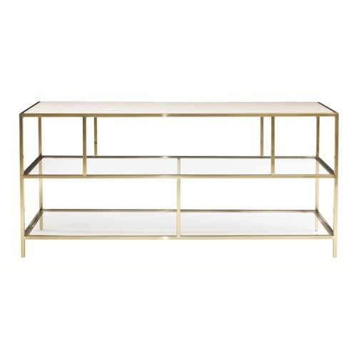 Bernhardt Jet Set Entertainment Console with Inset Glass Shelves