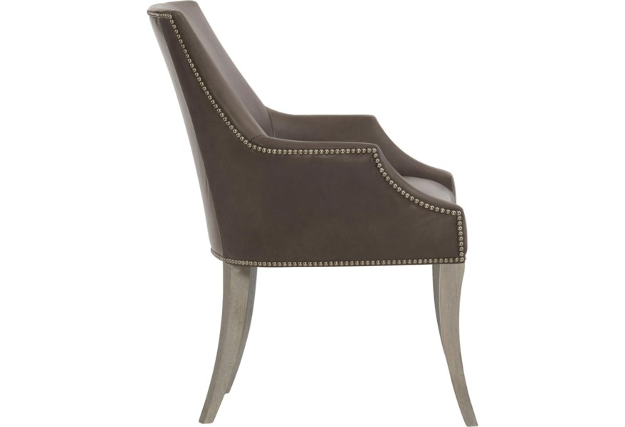 Bernhardt Keeley Leather Dining Chair With Nail Head Trim Jacksonville Furniture Mart Dining Arm Chairs