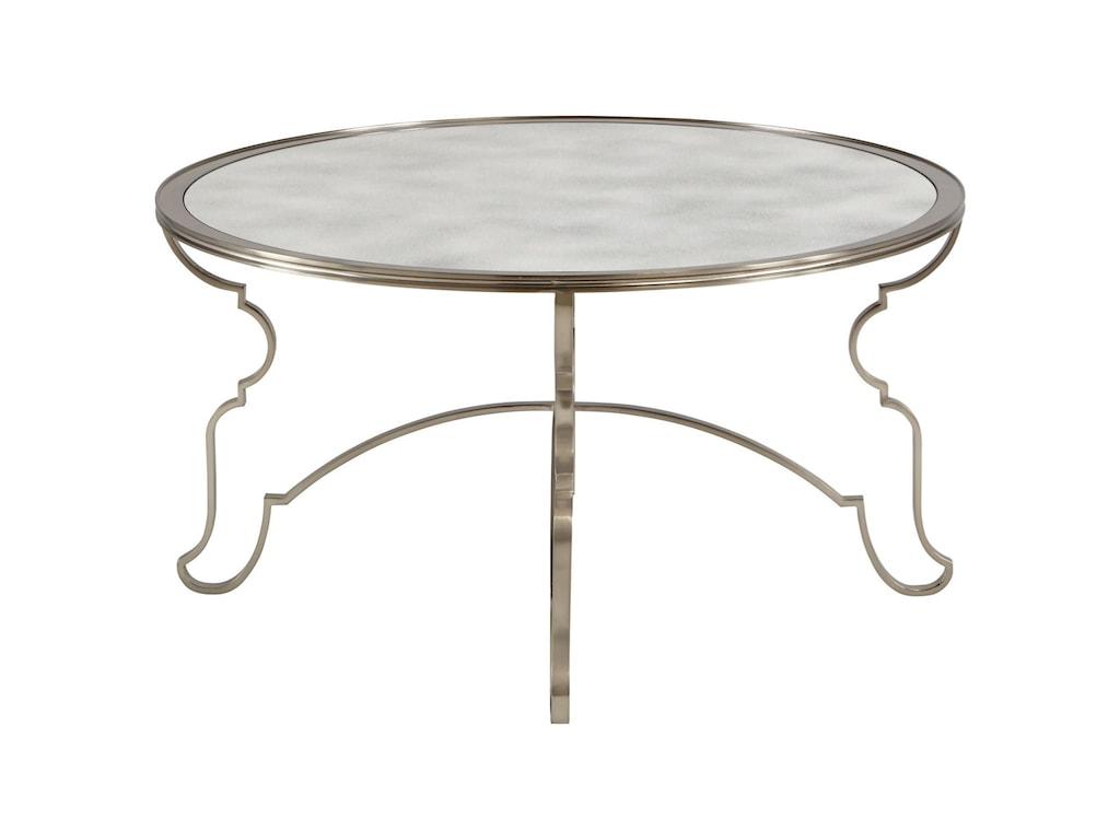 Bernhardt Laurel Round Cocktail Table With Antique Mirror Top