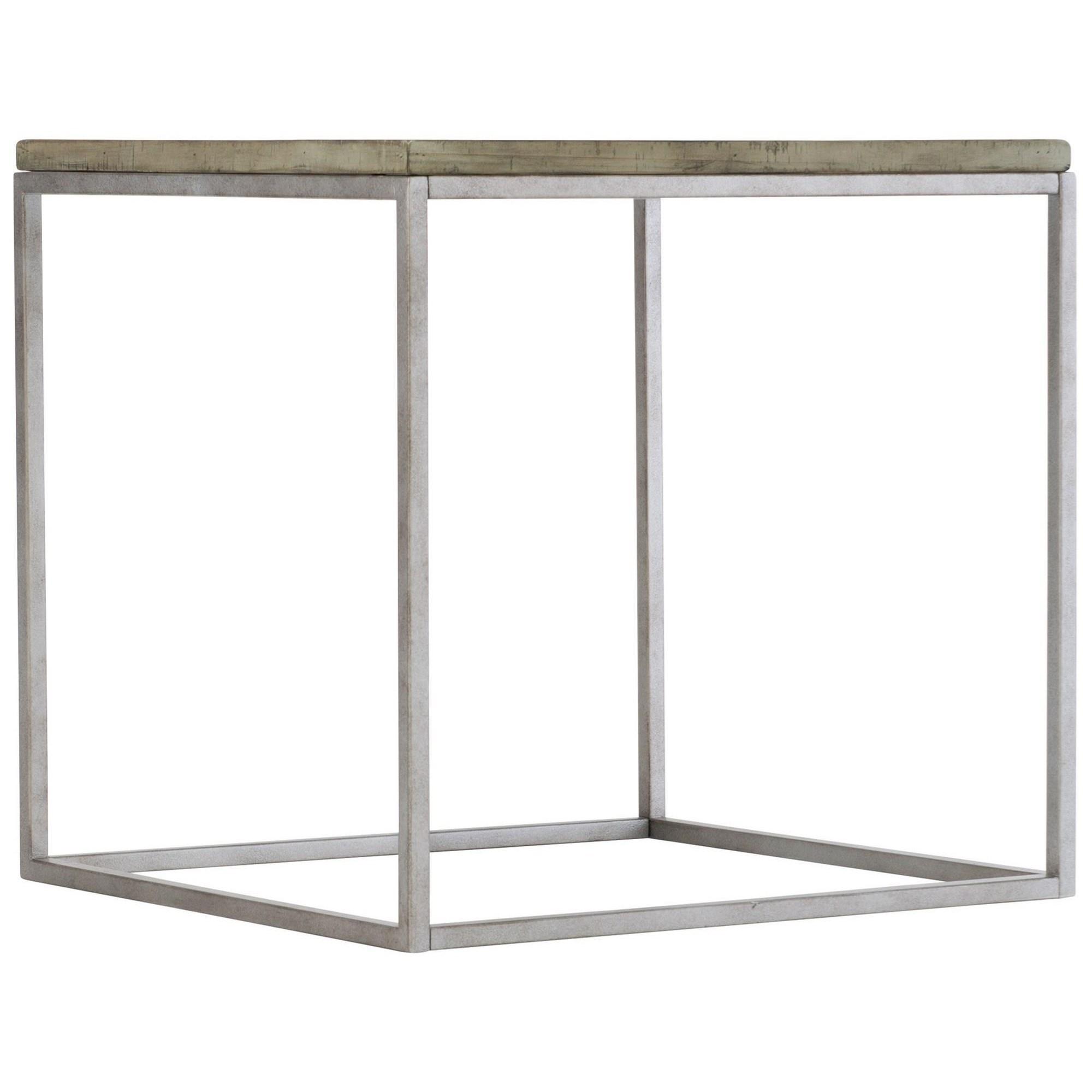 Gresham Rustic-Modern End Table with Steel Base