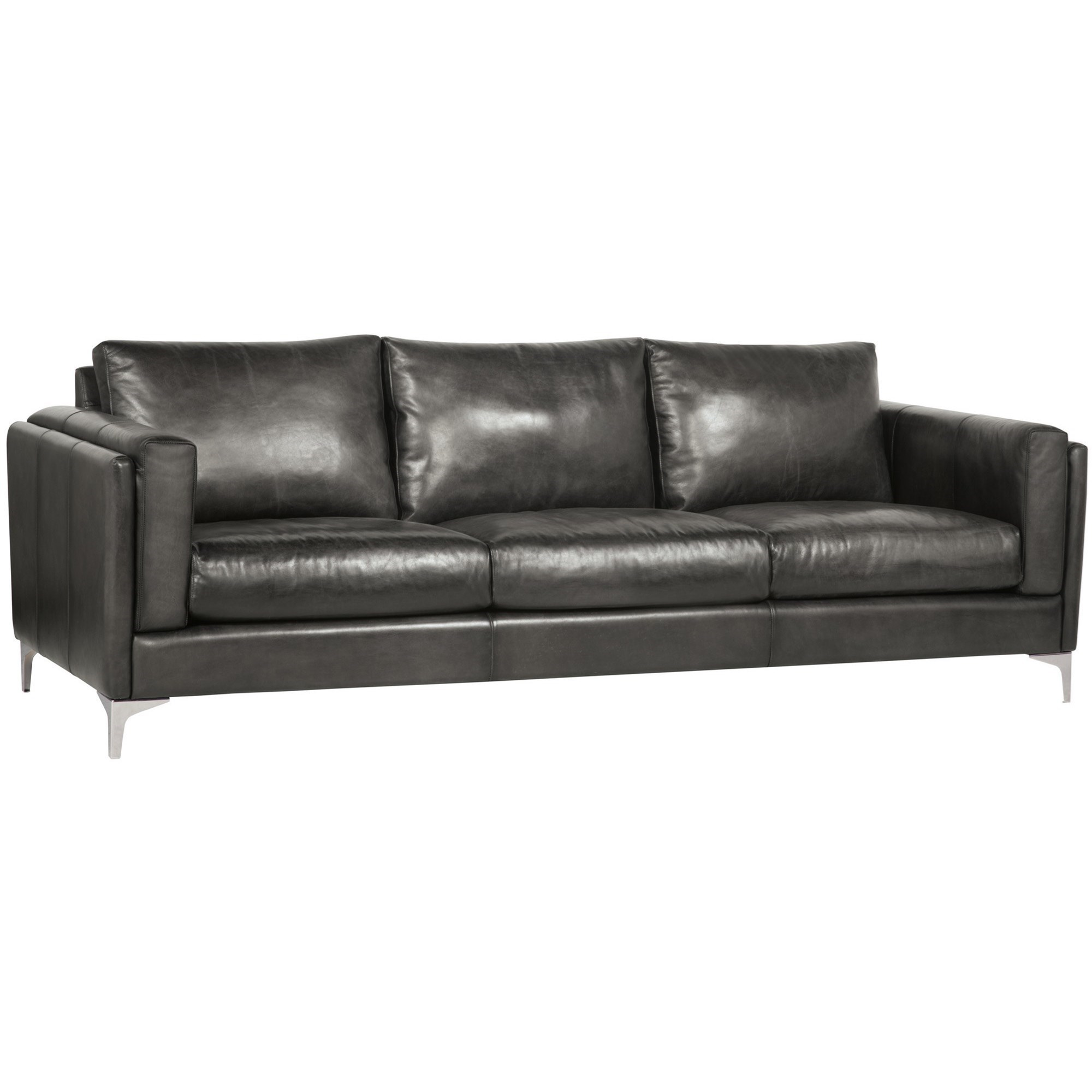 Bernhardt Malcolm Contemporary Leather Sofa With Metal Legs