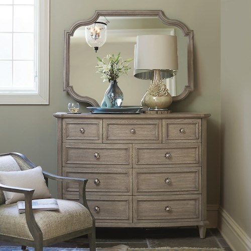 Bernhardt Marquesa Tall Dresser and Shaped Mirror Set