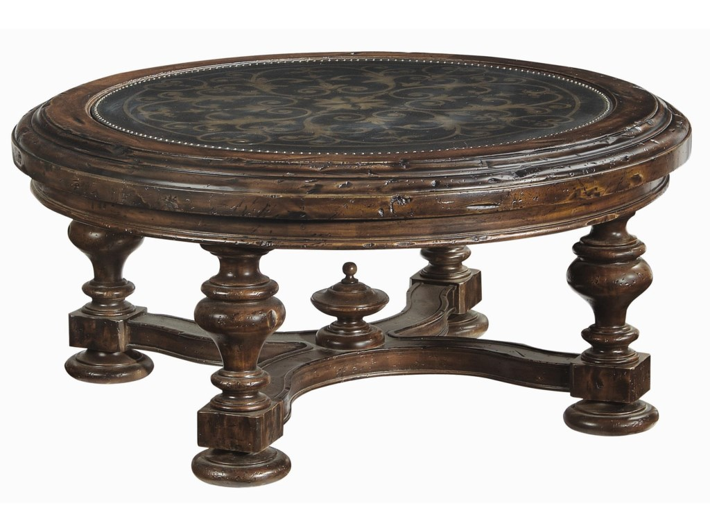 Bernhardt Marquis Round Tail Table With Br Nail Border
