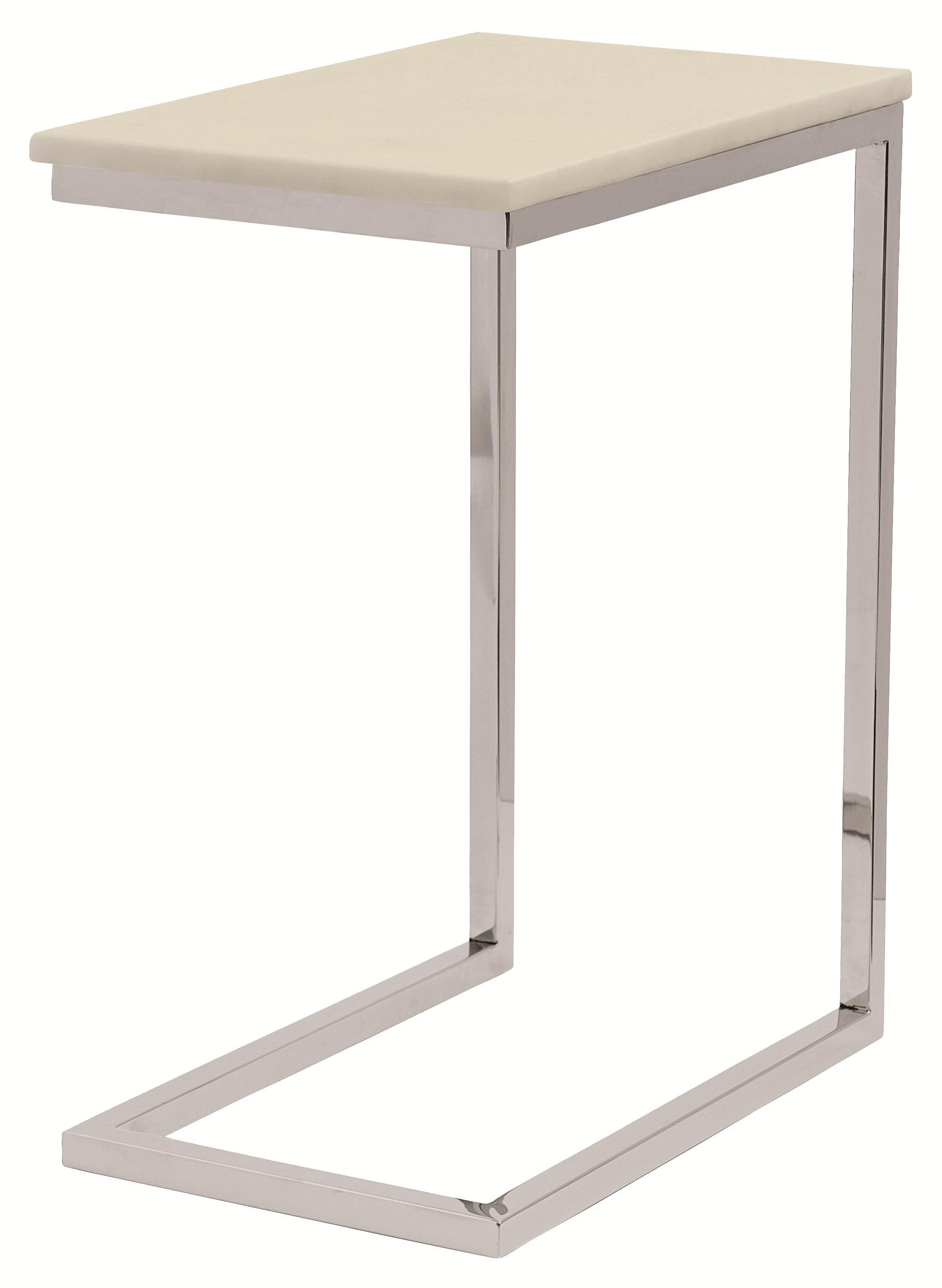 Ivory Marble Pull-Up Table with Stainless Steel Legs