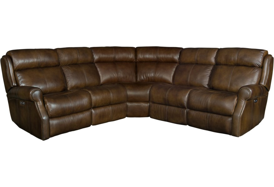 McGwire Three Piece Power Reclining Leather Sectional Sofa with Power Tilt  Headrests and USB Charging Ports by Bernhardt at DuBois Furniture
