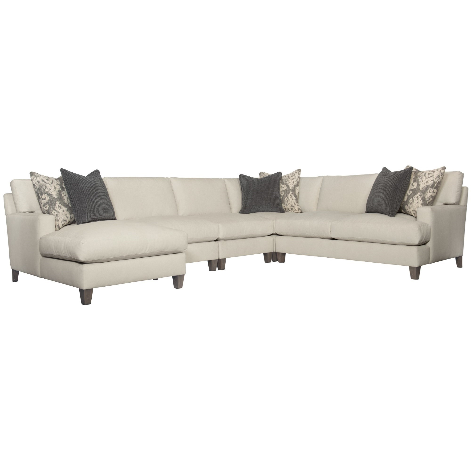 Transitional 5-Piece Sectional with Exposed Wood Legs