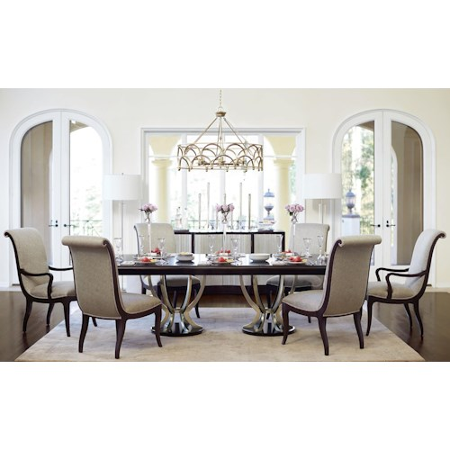 Bernhardt Miramont 7 Piece Dining Set with Double Pedestal Table and Upholstered Chairs