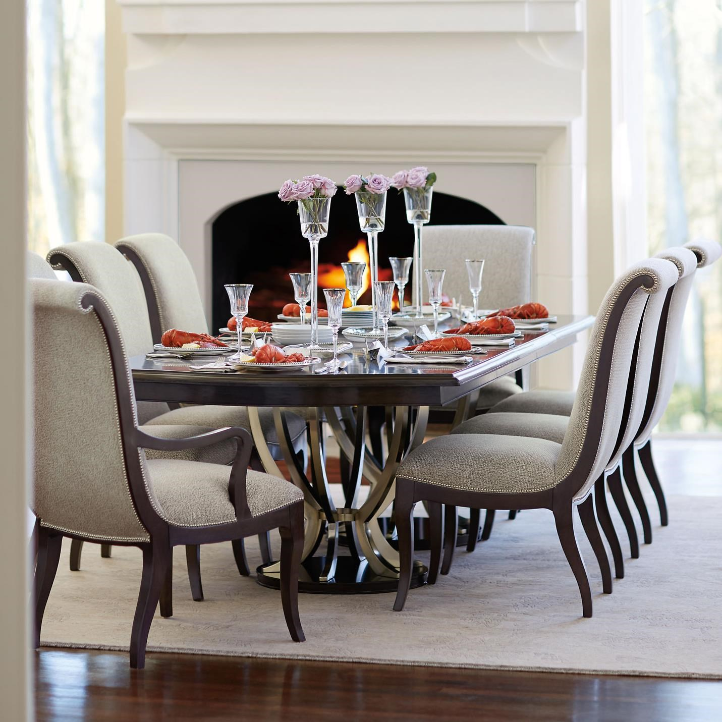 bernhardt miramont 9 piece dining set with double pedestal table and rh dunkandbright com bernhardt glass dining tables bernhardt interiors dining tables