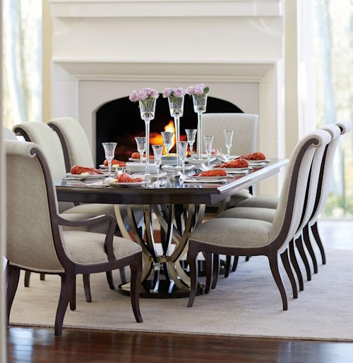 Bernhardt Miramont 9 Piece Dining Set with Double Pedestal Table and Upholstered Chairs