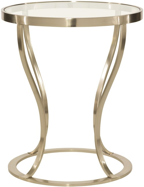 Bernhardt Miramont Round Metal Side Table with Glass Top