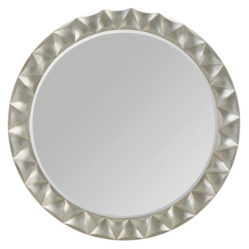 Bernhardt Miramont Round Mirror with Silver Sand Finished and Beveled Frame