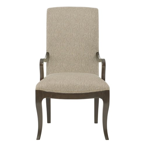Bernhardt Miramont Upholstered Dining Arm Chair with Smooth Curved Frame