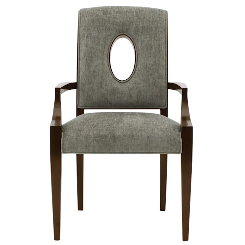 Bernhardt Miramont Upholstered Dining Arm Chair with Open Wood-Framed Oval Shape in Chair Back