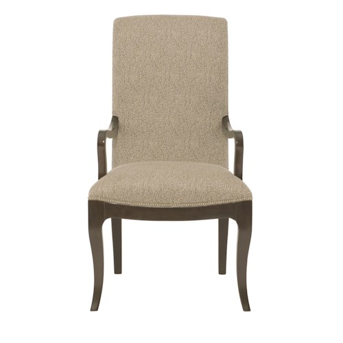 Bernhardt Miramont Customizable Upholstered Dining Arm Chair with Smooth Curved Frame