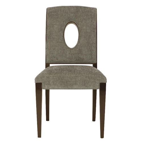 Bernhardt Miramont Customizable Upholstered Dining Side Chair with Open Wood-Framed Oval Shape in Chair Back