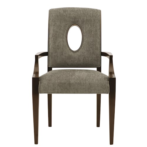 Bernhardt Miramont Customizable Upholstered Dining Arm Chair with Open Wood-Framed Oval Shape in Chair Back